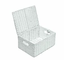 Large Paper Rope Storage Basket Box With Lid - White  WB-9690L