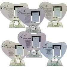 GLASS PHOTO FRAME MEMORIAL AND CANDLE HOLDER REMEMBERANCE SPECIAL KEEPSAKE