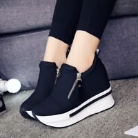 Women Platform Hidden Wedge Shoes Casual Flat  High Top Sneakers Ankle Boots