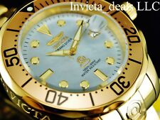 Invicta Men 300M Grand Diver Automatic Polished Platinum MOP Dial Gold IP Watch