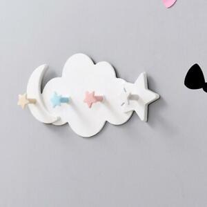 Nordic Wood Cloud Moon Star Hook Wall Hanger Sticker Holder Kids Room Decor AU