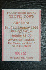 TICKET 1993 FA CUP 3rd ROUND YEOVIL TOWN V ARSENAL