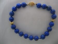 ESTATE VINTAGE 14K YELLOW GOLD LAPIS LAZULI HAND KNOTTED BEAD BRACELET