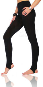Women's Plain Black Stretchy Stirrup Style Footless Leggings Pants