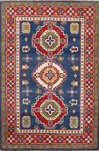 Vegetable Dye Super Kazak Geometric Oriental Area Rug Hand-knotted Wool 4'x6'