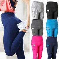 NEW Womens High Waist Yoga Leggings Pocket Fitness Sport Gym Workout Pants X229