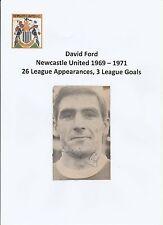 David Ford Newcastle United 1969-1971 Original Firmada A Mano Revista De Corte