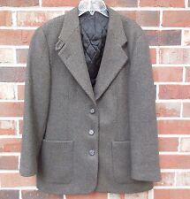 LL Bean Women's Insulated Blazer Jacket Tweed sz 12 R Olive Thinsulate 3 Button