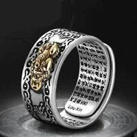 Feng Shui Pixiu Charms Ring Amulet Lucky Wealth Buddhist Jewelry Adjustable Ring