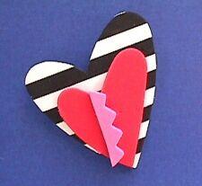 BUY1&GET1@50%~Hallmark PIN Valentines ❤️ HEART FOAM 3D B&W Pink Red Vtg Holiday
