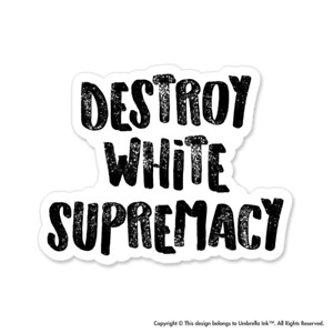 Destroy White Supremacy Activist Sticker Equality Diversity Decal Car