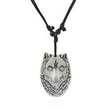 1pcs White Yak Bone Powder Resin Wolf Face Head Pendant Necklace Adjustable