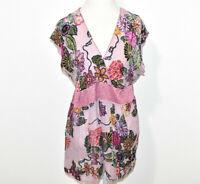 Hale Bob Silk Blend Velvet Blouse Shirt Women's Medium Floral Beaded V-Neck