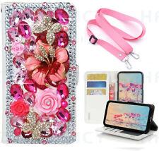 Women Bling Diamond Wallet Phone Case & Crystal Strap For iPhone Samsung LG Moto