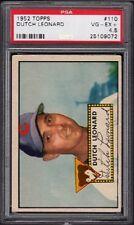 1952 Dutch Leonard Topps Baseball Card #110 Graded PSA 4.5 VG-EX+