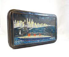Rare art deco transatlantic ship New york tin case antique box 1930 Titanic