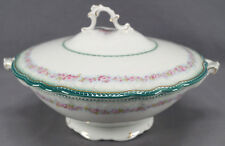 W. H. Grindley Dainty Pattern Pink Rose Green & Gold Covered Vegetable 1914 - 25