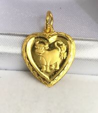 24K Solid Gold Cute Ox - Cow Animal Sign Heart Shape Charm/ Pendant, 2.26 Grams