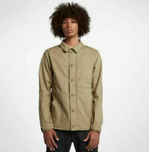 Nike Sb 938018-256 Men's Tan Cotton Collared Button Long Sleeve Dri-FIT Jacket