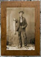 Outstanding... Young Man Holding Trout , Fishing ... Antique 8x12 Photo Print