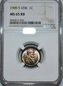 NGC MS-65 RB 1909-S VDB Lincoln Cent, Beautifully toned, PQ, Key-Date Gem!