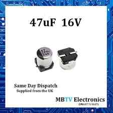 5 x 47UF 16V ALUMINIUM ELECTROLYTIC SURFACE MOUNT SMD CAPACITOR 105C - PACK OF 5
