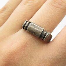 Vtg 925 Sterling Silver Unique Handmade Modernist Ring Size 9
