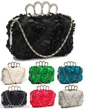 Ladies Gorgeous Floral Clutch Bag Womens Knuckle Rings Evening Party Prom Bag