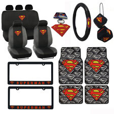 New Superman Car Truck Seat Covers Floor Mats Steering Wheel Full Interior Set