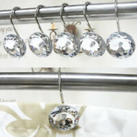12 Pieces set Decor Diamond Rhinestone Shower Curtain Hooks For Home Bathroom