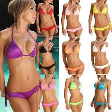 Damen Neckholder Swimwear Bikini Set  Tankini G-String Bademode Badeanzug Strand