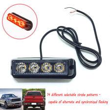 USA Dash Grille Side Marker 4 LED Strobe Lights Emergency Warning Hazard Red