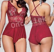 Lingerie Babydoll Nightie Underwear Red Wine Teddy Jumpsuit Chemise O/s