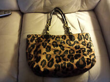 AUTH COACH MADISON OCELOT/LEOPARD PRINT TOTE BAG PURSE BROWN/BLACK/GOLD