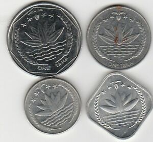 4 different world coins from BANGLADESH