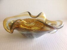 Murano Glass Folded Bowl with swirl design and Silver Flakes