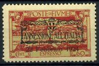 Fiume 1924 Sass. E11 uuo Nuovo ** 100% annessione all'Italia