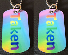 """Rainbow Gay Pride """"Taken"""" 2-Sided Color Photo Dog Tag Necklace / Keychain"""