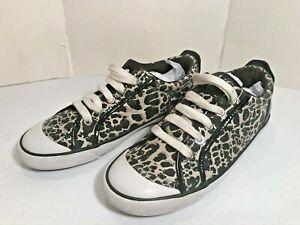 Coach Barrett Animal Print Cheetah Leopard Sneakers Black Patent Leather 8B