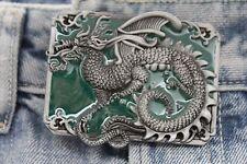 Neuf Homme Femme Métal Boucle Ceinture Occidental Argent Vert Carré Long Chinois