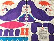 "Cotton Quilt Fabric Dexter the Dinosaur Toy Pillow Purple Panel 35""x44"""