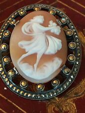 CAMEE CAMEO JEUNE FILLE BOUQUET BROCH FRENCH JEWEL XIX SILVER 19th ARGENT