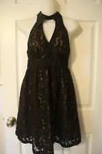 Anthropologie Anna Sui Black Holiday Cocktail Party Lace Dress W Collar 1 XS