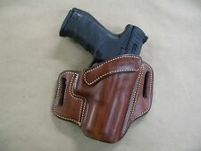 Walther PPQ M1/M2 9mm / .40 Leather 2 Slot Molded Pancake Belt Holster TAN RH