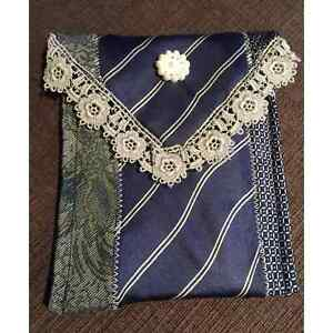 Handmade vintage blue lace pearl button recycled tie pouch eyeglass case wallet