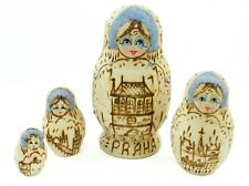 Burnt Wood Russian Nesting Doll Christmas Ornament Holiday Decoration