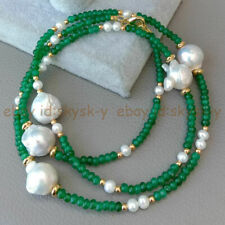 30'' 2x4mm Rondelle Faceted Emerald & 5 Pcs White Keshi Baroque Pearl Necklace