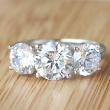 Moissanite .925 Starling Silver Engagement Ring 3.50 ct Vs1 Fancy Off White Real