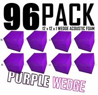 Acoustic Foam 96 Pack 12x12x1 Purple Wedge Tiles for Soundproofing and Recording