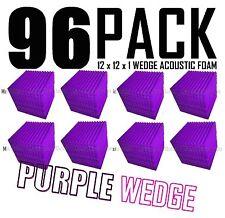 96 Pc PURPLE Acoustic Wedge Studio Soundproofing Foam Wall Tiles 12x12x1 inch